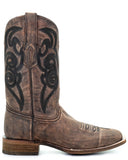 Mens Embroidered Boots - Brown