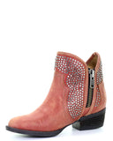 Women's Studded Fashion Ankle Boots - Red