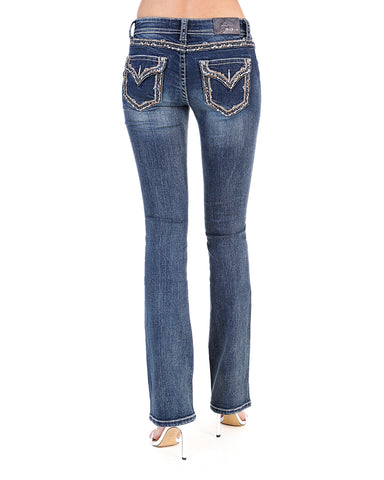 Women's Stitched Pocket Border Bootcut Jeans