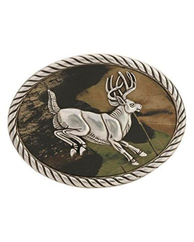Deer Jumping Camo Belt Buckle