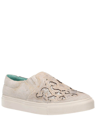 Women's Floral Embroidered Glitter Sneakers - White