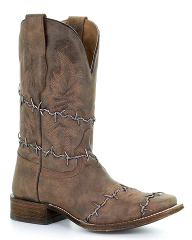 Men's Barbwire Square Toe Boots