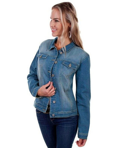 Womens Floral Embroidered Denim Jacket