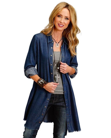 Women's Embroidery Shirt Denim Dress