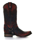 Men's Flame Embroidery Harness Boots