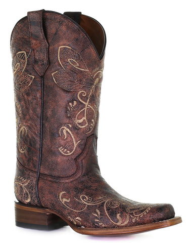 Women's Dragonfly Embroidery Western Boots