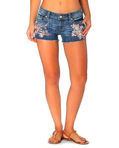 Women's Pink Floral Embroidered Denim Shorts