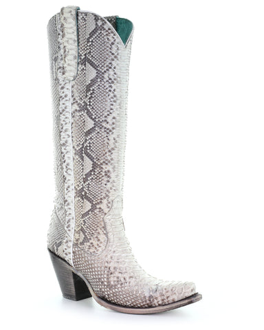 Women's Natural Python Tall Western Boots