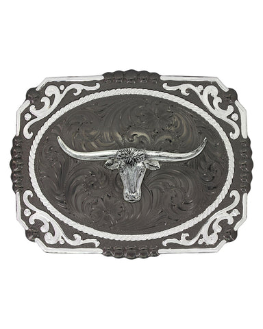 Longhorn Steer Gunmetal Belt Buckle