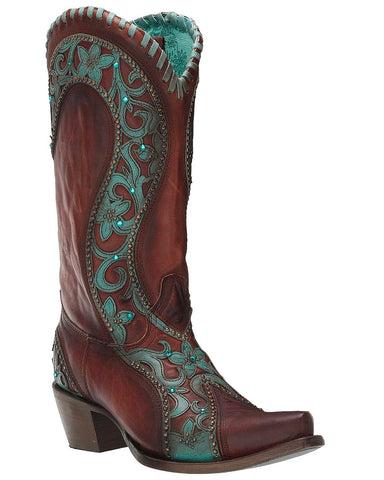 Women's Floral Overlay Western Boots - Turquoise