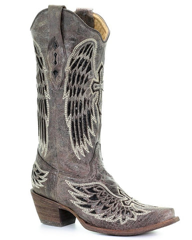 Womens Wing & Cross Snip-Toe Boots - Brown