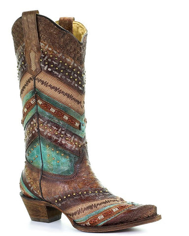 Women's Braided Embroidered Boots