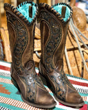 Women's Floral Overlay Western Boots - Brown