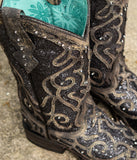 Women's Glitter Inlay Square-Toe Boots