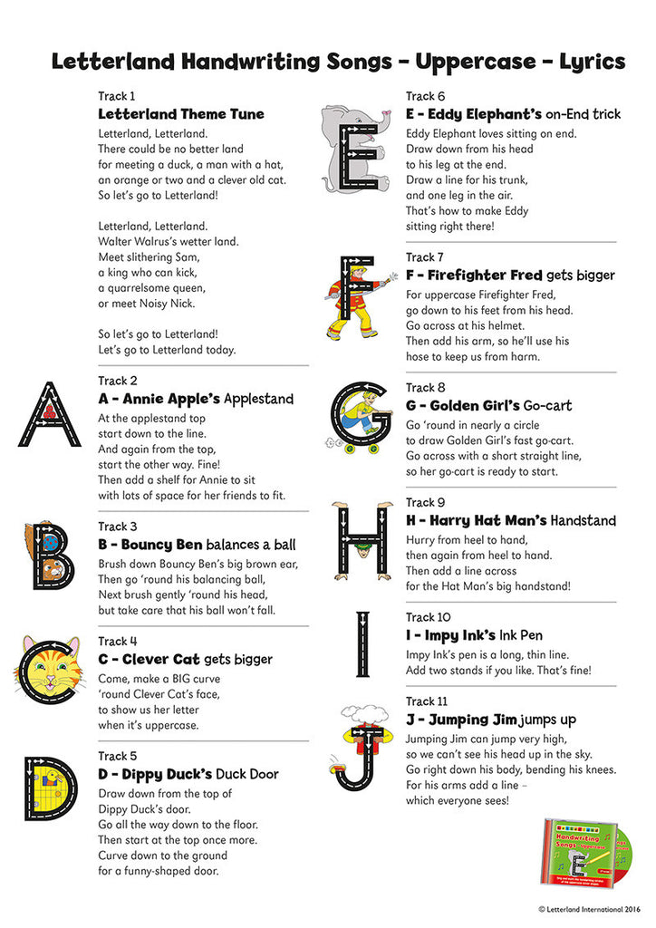 Lyric songs with apple in the lyrics : Handwriting Songs - Uppercase (CD) – Letterland USA