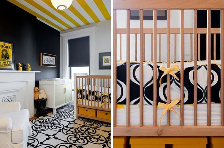 Brooklyn Home Company Lyndsay Caleo Luxury Interior Design Boy Graphic Colorful Yellow Black Combo Nursery Cool Trendy Modern Stylish Space