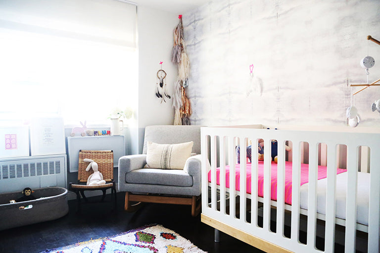 Violet Gaynor The Glow Luxury Parenting Mom Blog Plum's Girl Nursery Cool Modern Trendy Stylish Space