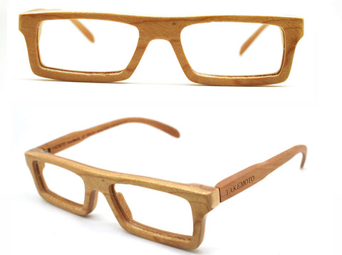 2d59a34823 American cherry wood NEVER handmade wooden Prescription RX square TAKEMOTO  eyeglasses