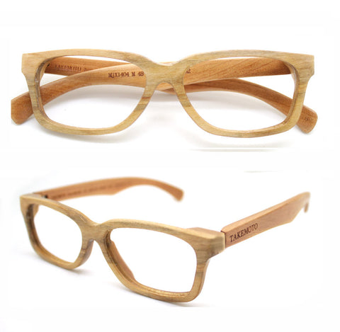 940d34f2369 Cherry Wood Round Takemoto Mjx1404 Handmade Wood Eyeglasses With Wood Box  Free Shipping