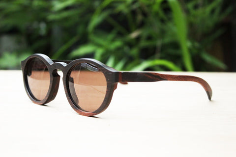 6790df7e34e Thanks Handmade Round 1960  Takemoto Ebony Wood Sunglasses ...