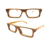 zebra wood NEVER handmade wooden Prescription RX square TAKEMOTO eyeglasses