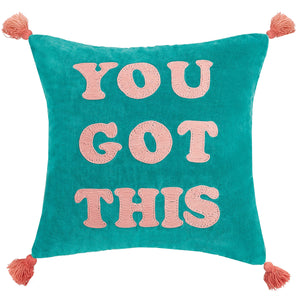 You Got This Tassels Embroidered Pillow