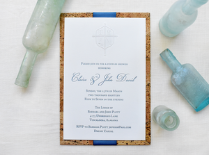 embossed cork couples shower invitation