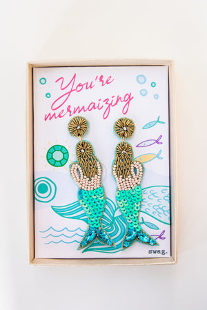 You're mermaizing! Mermaid Earrings - Aqua