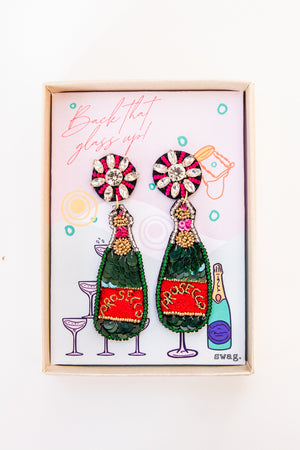 Back that glass up! Prosecco Earrings