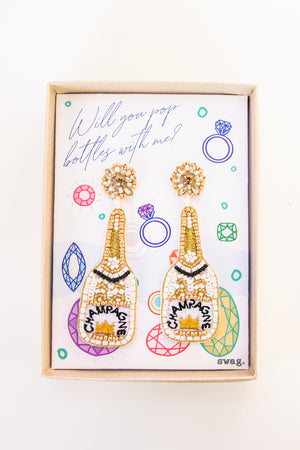 Will you pop bottles with me? Champagne Earrings - White