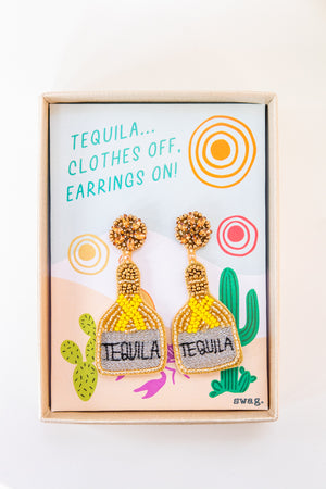 Tequila... Clothes Off, Earrings On! - Yellow