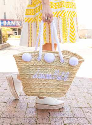 Pre-Order: Personalized Pom Pom Tote Bag - White