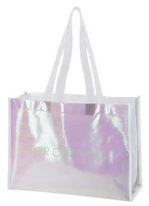 CROWNED IRIDESCENT SHOPPING TOTE