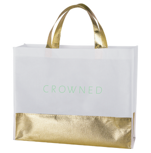CROWNED METALLIC SHOPPING TOTE