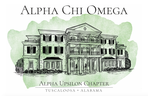 Alpha Chi Omega Watercolor House Shirt