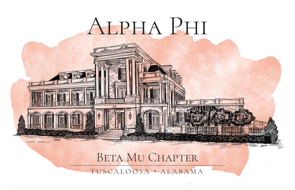 Alpha Phi Watercolor House Shirt