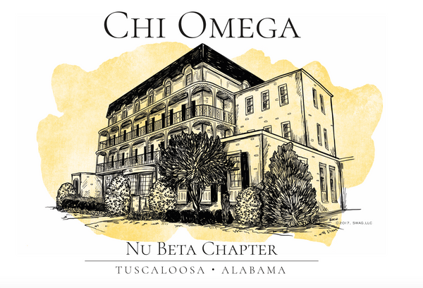 Chi Omega Watercolor House Shirt