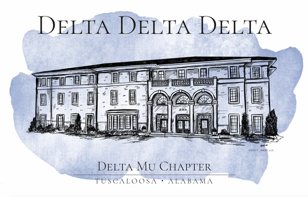 Delta Delta Delta Watercolor House Shirt