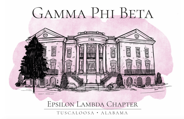 Gamma Phi Beta Watercolor House Shirt