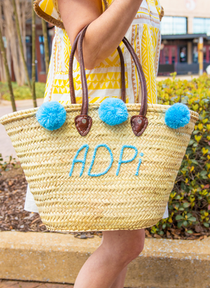 Pre-Order: Personalized Pom Pom Tote Bag - Light Blue