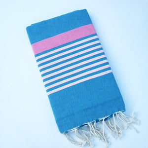 Turkish Blue, White, and Pink Towel
