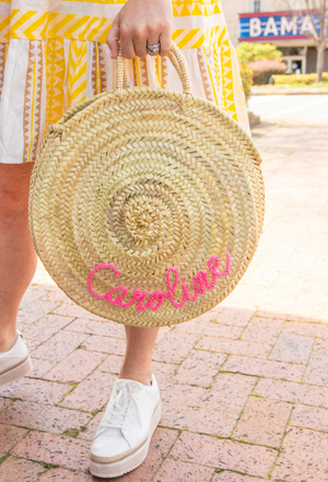 Pre-Order: Personalized Round Tote Bag - Pink