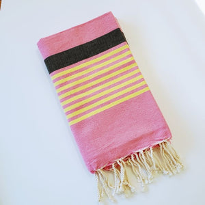 Turkish Pink, Yellow, and Black Towel