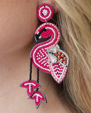 Flamingo Beaded Earrings