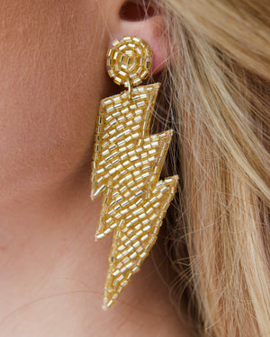You're Electric! Lightning Bolt Earrings - Gold