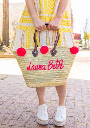 Pre-Order: Personalized Pom Pom Tote Bag - Hot Pink