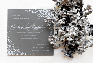 silver foil rehearsal dinner invitation
