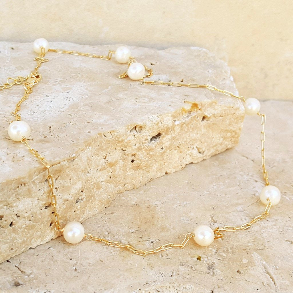 Pearl and Gold Choker - SARAJANEaccessories