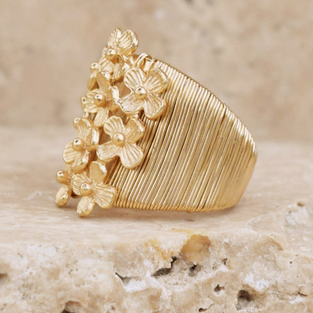 Gold Daisy Ring Wrapped - SARAJANEaccessories