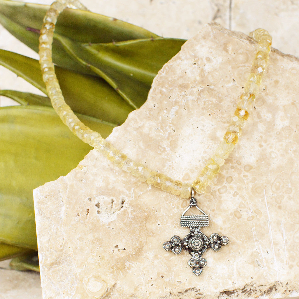 Citrine Choker With Silver Cross Pendant - SARAJANEaccessories